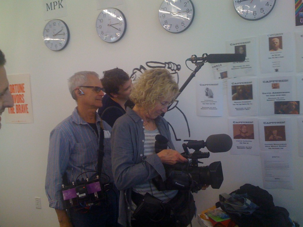 Filming at Facebook. L-R. Alan Barker (sound), Walker Koppelman-Brown (co-producer), Joan Churchill (cinematographer).