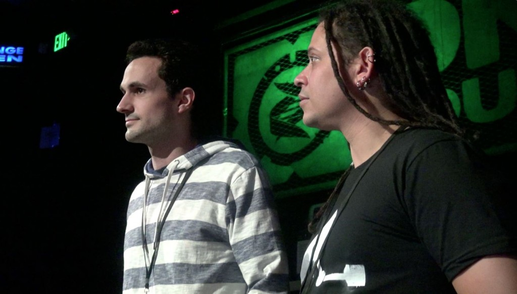 Bill Marczak (L), Morgan Marquis-Boire (R) presenting at B-Sides hacker event, San Francisco